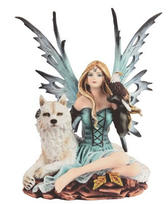 "Blue Fairy with Wolf , 8"" high"