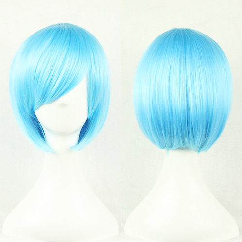 Sky Blue Straight Wig Synthetic Short