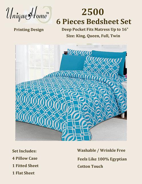 6Pcs 2500 Bedsheet Set (King Size)
