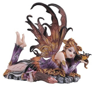 """Fairy Laying on Leaves, Brown , 6"""""""