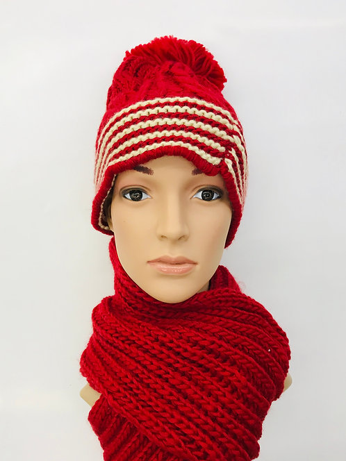 Knitting Winter Hat With Scarf Thick Line
