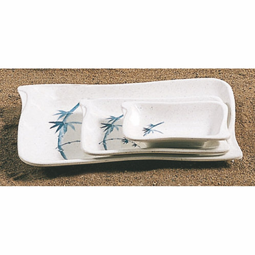 "8 2/3""x5 4/5"" Blue Bamboo BBQ Plate"