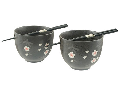 Black Blossoms 2PCS Bowel Set W/ Chopsticks