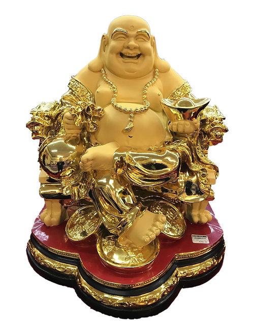 "18"" Golden Sitting Happy Buddha"