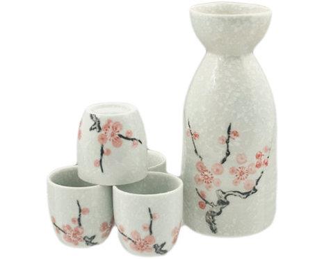 White/Pink Cherry Flower Sake Set
