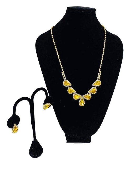 Necklace Set W/ Earrings Gold Yellow Crystal No#29