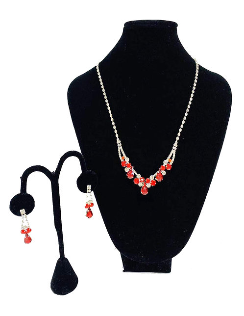Necklace Set W/ Earrings Silver/Red Rhinestones No#63