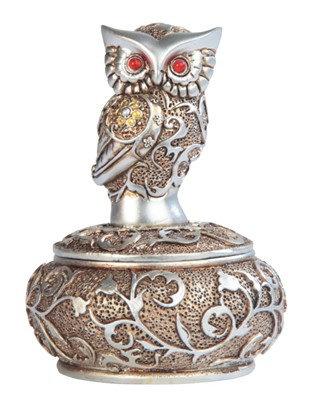 "4"", Owl Trinket Box, Silver&Gold"