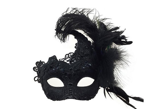Masquerade Venetian Party Mask With Feather Black