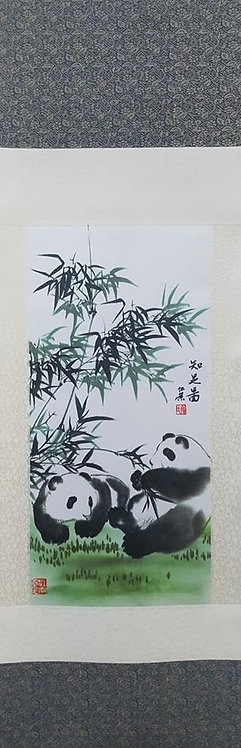 "38"" Chinese Fabric Scroll Panda"