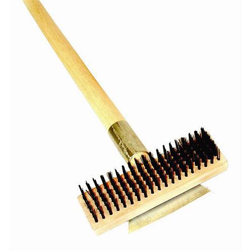 "27"" Wire Brush W/ Wood Handle & Scraper"
