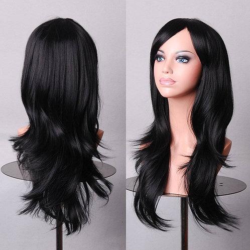 Black Light Curly Wig Synthetic Medium