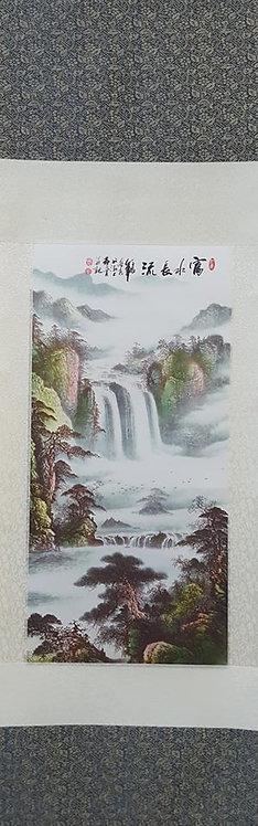 """38"""" Chinese Fabric Scroll Waterfall"""