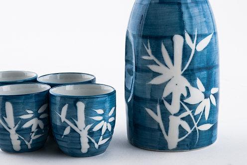 Blue Bamboo Sake Set