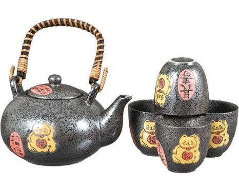 Cat Tea Set W/ Strainer & Wooden Handle