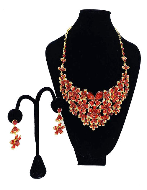 Necklace Set W/ Earrings Gold/Red Butterfly & Flower No#64