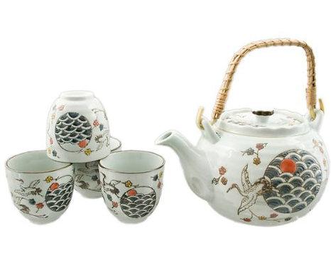 Blue Crane Tea Set W/ Strainer & Wooden Handle