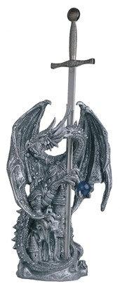 """Dragon/Sword, Silver , 12"""" high"""