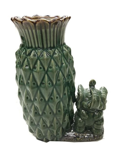 Tall Pineapple & Elephant Bamboo Vase