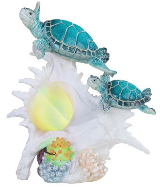 """LED Sea Turtle with Blue Conch, 9 1/4"""" high"""