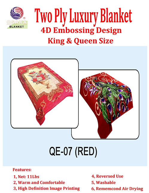 4D Embossing Two Ply Luxury Blanket (King Size)