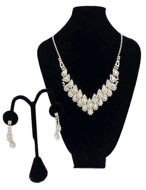 Necklace Set W/ Earrings Silver Rhinestones No#44