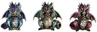 "4"", Punk No-Evil Dragon 3 PC Set"
