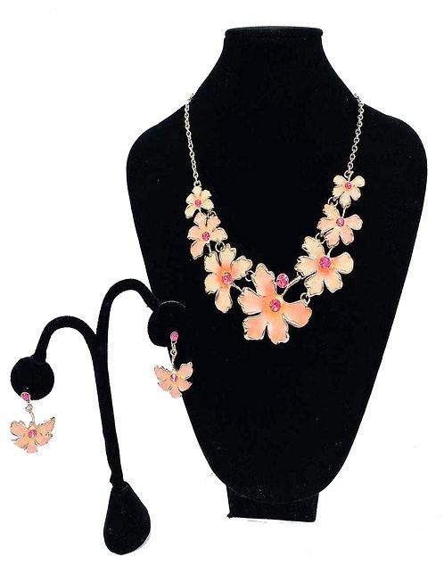 Necklace Set W/ Earrings Light Orange Flower No#49