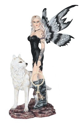"""Black Fairy with Wolf , 22 1/2"""" high"""