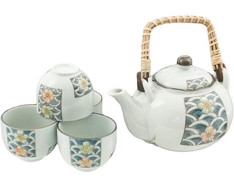 Blue Flower Tea Set W/ Strainer & Wooden Handle