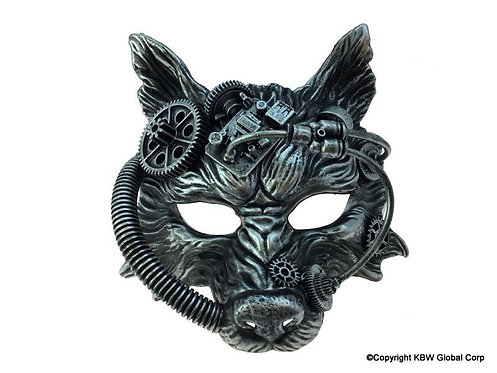 Steampunk Wolf Mask Silver