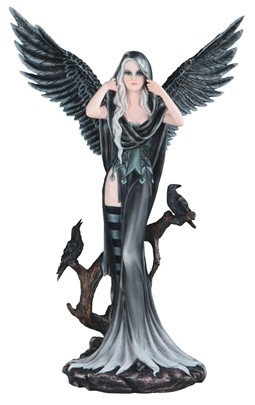 "Large-Scale Dark Angel Fairy with 2 Crows , 24"" high"