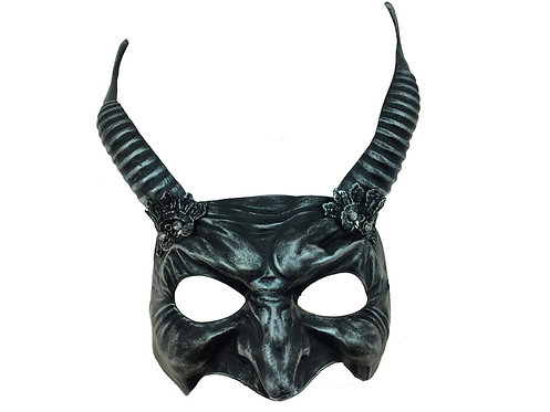 Horned Devil Face Mask Silver