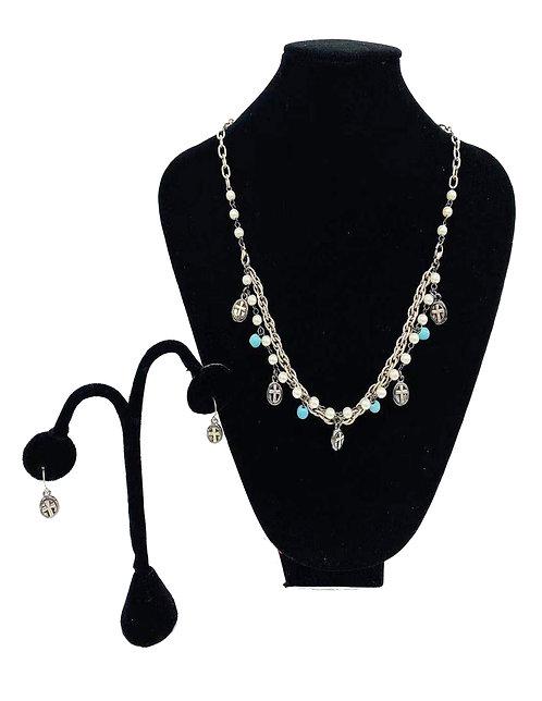 Necklace Set W/ Earrings Silver Cross W/ Pearls No#12