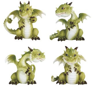 "4 1/4"", Cute Dragon 4 PC Set"