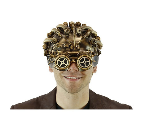 Gold Steampunk Mask With Compass Goggle
