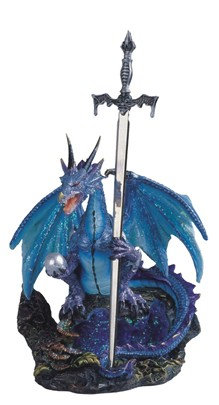 """Dragon Blue with Sword , 8"""" high"""