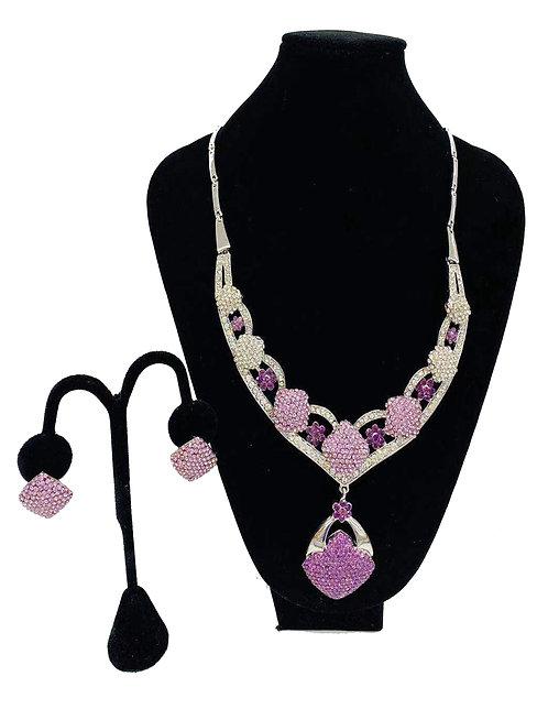 Necklace Set W/ Earrings Gold/Purple Diamond Pattern No#26