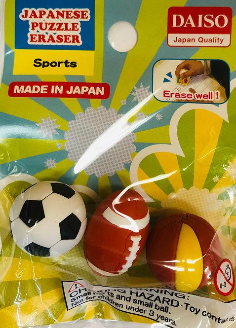 3pc Japanese Puzzle Eraser Sports