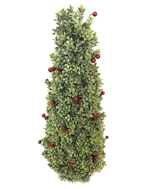"""24"""" Red Berry Boxwood Cone"""