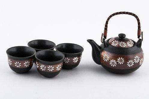 Bronze Flower Tea Set W/ Strainer & Wooden Handle