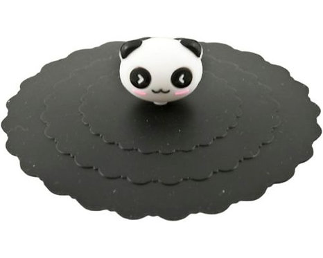"4.25""D Black Panda Silicone Lid Cups & Mugs"