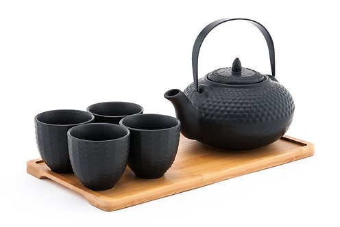Black Ceramic Tea Set W/ Strainer & Bamboo Tray
