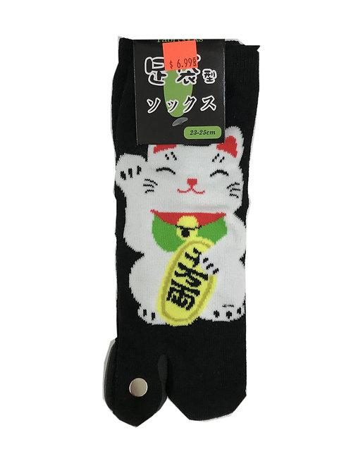Japanese Tabi Socks Black Lucky Cat