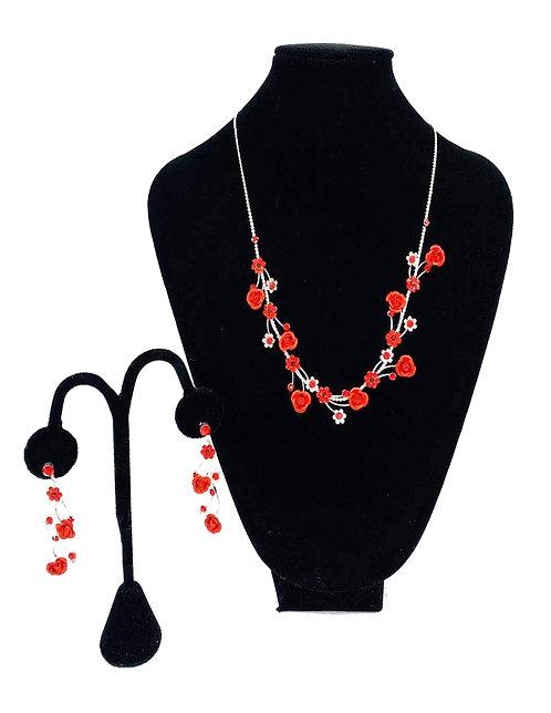Necklace Set W/ Earrings Little Flower Red No#3