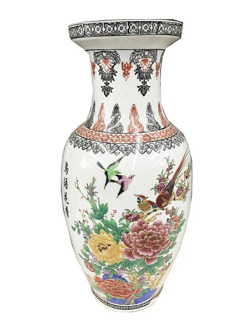 Bird & Flowers Tall Vase