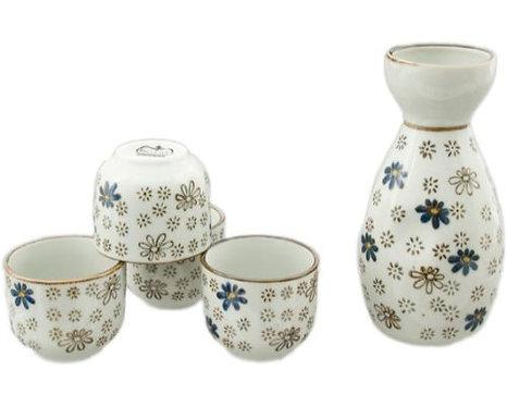 White/Blue/Brown Flower Sake Set