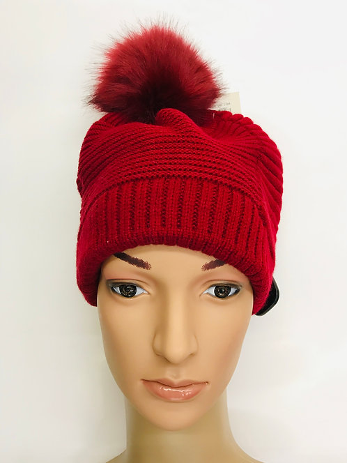 Knitting Winter Hat With 1 Ball On The Top