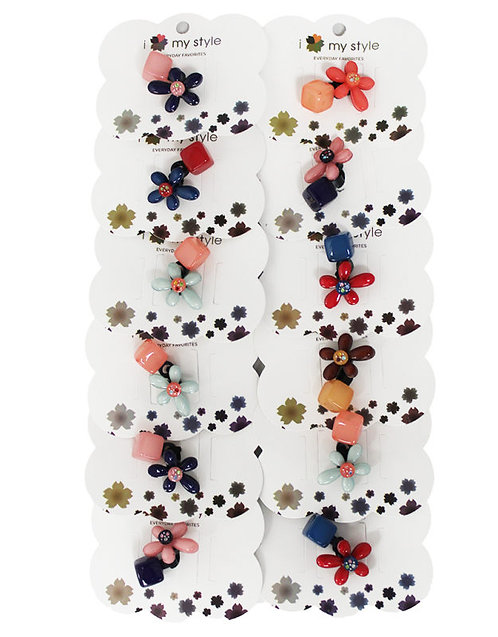 Hair Clip W/ Flower Assorted Color