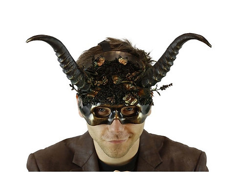 Forest Style Mask With Horns And Floral Decoration